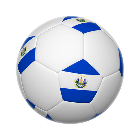 Flags on soccer ball of El Salvador photo