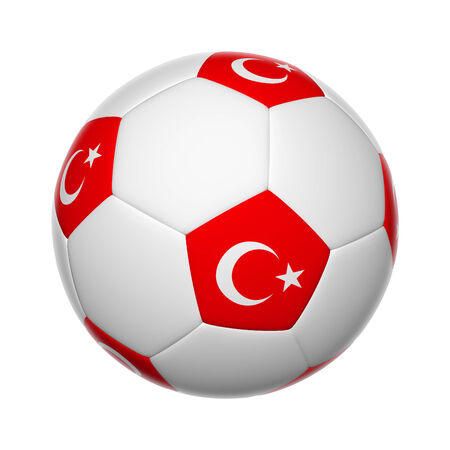 Flags on soccer ball of Turkey photo