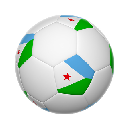 Flags on soccer ball of Djibouti