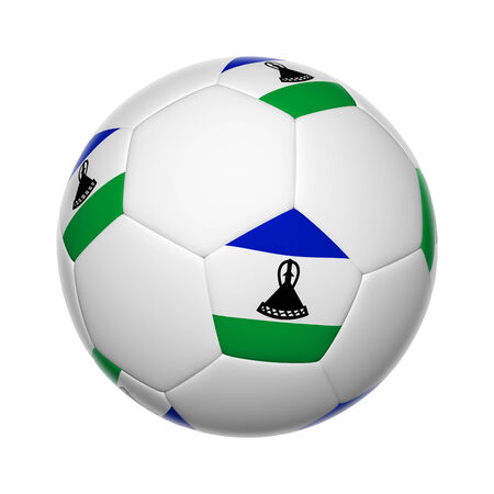 Flags on soccer ball of Lesotho photo