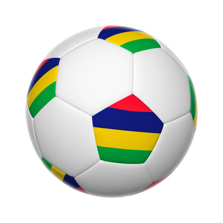 mauritius: Flags on soccer ball of Mauritius