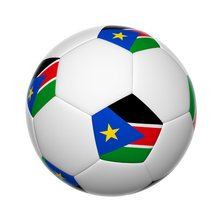 Flags on soccer ball of South Sudan photo