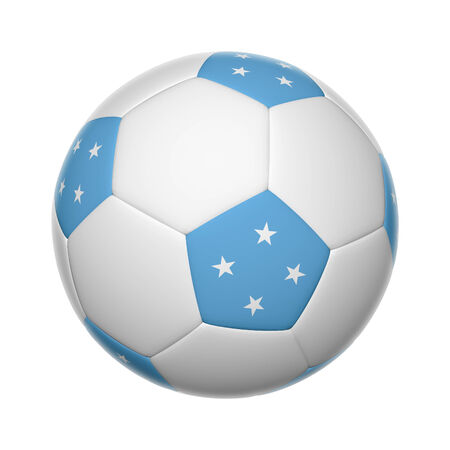 micronesia: Flags on soccer ball of The Federated States of Micronesia Stock Photo