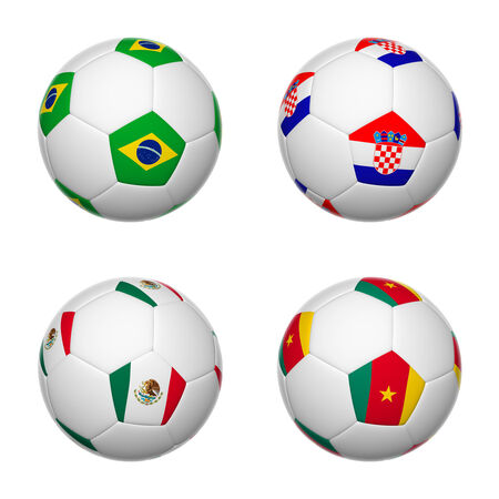 3D soccer balls of group A teams flags, Brazil 2014. isolated on white. photo
