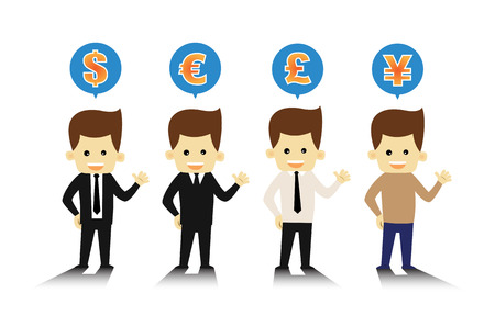 4 Styles business man and currency symbols Vector