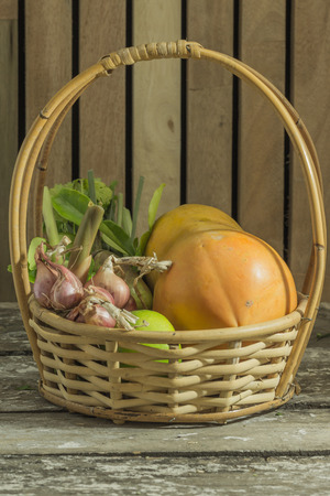 freshly picked: A basket filled with freshly picked vegetables
