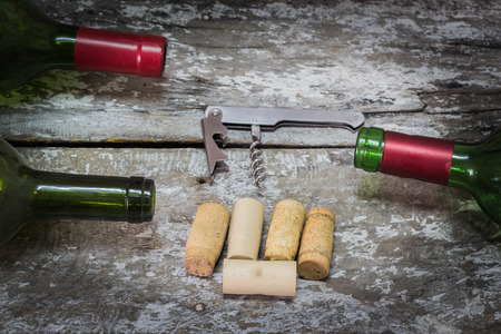 vins: Bottle of Red Wine with Cork, Corkscrew and Glass of Red Wine Bottle of Red Wine with Cork, Stock Photo