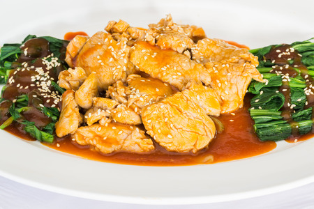 quid: Stir fried pork topped with red wine sauce