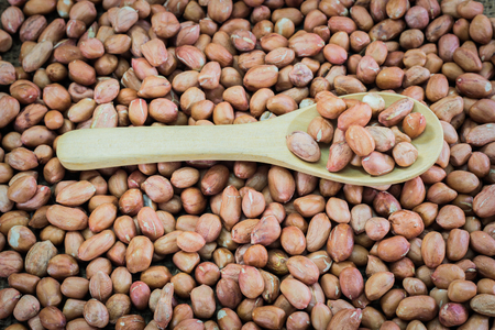 ground nuts: fresh ground nuts in spoon and pile on sack cloth.