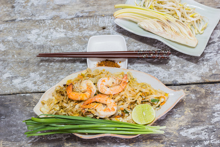 traditional food: Thai food Pad thai is fried with shrimp Thailand style original banana leaf bottom groove.