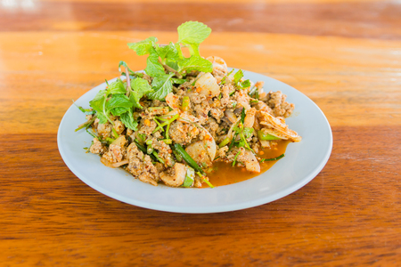 Larb, duck mince with spicy taste, Thai food
