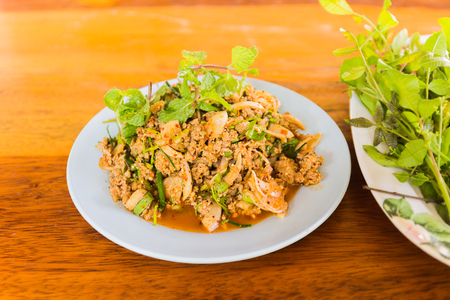 isaan: Larb, duck mince with spicy taste, Thai food