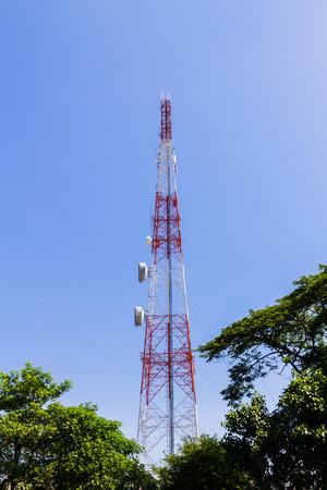 telephone pole: Telephone pole with clear blue sky
