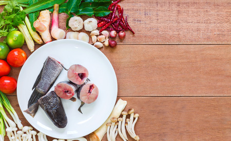 striped snakehead fish: Ingredients of Tom Yam Fish and Vegetable