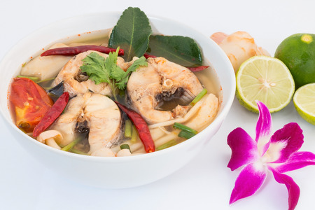 snakehead: Tom Yum striped snakehead fish,Thai Food Stock Photo