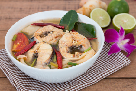 striped snakehead fish: Tom Yum striped snakehead fish,Thai Food Stock Photo
