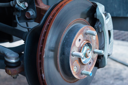 Front disc brake on car Stock Photo