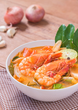 Tom Yam Kung and Ingredients, Thai cuisine, Thai food, Stock Photo