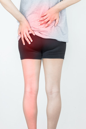Lower back pain, Hip painful skeleton and leg pain the cause of the problem is from hernia in a sckeleton, Health & Medical concept. Banco de Imagens - 102960066