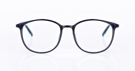 Black eye glasses isolated on white blackground.