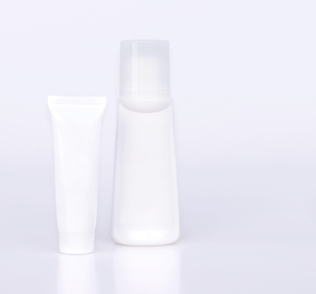White plastic bottle of cosmetic container isolated on white background.
