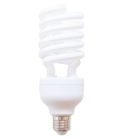 White energy saving bulb, fluorescent bulb isolated on white background Banco de Imagens - 134262364