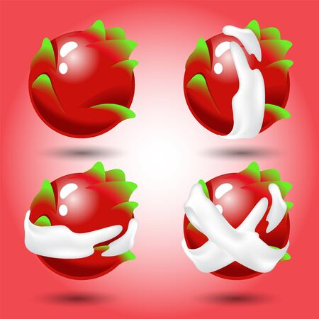 Fruit, Set of red dragon fruit. Items for match 3 games, Assets Vector for web or game design.