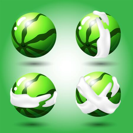 Fruit, Set of watermelon green fruits. Items for match 3 games, Assets Vector for web or game design.