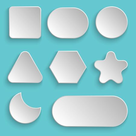 White blank buttons vector design illustration isolated on cool background.