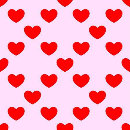 Heart background for valentine's day. Seamless vector pattern with red hearts on pink background.