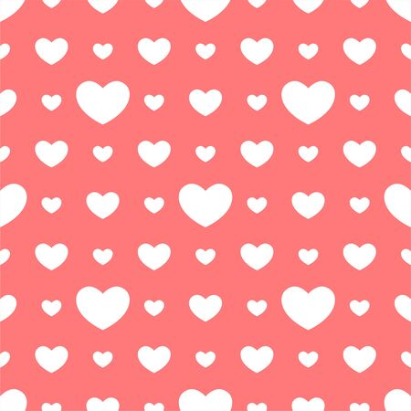 White hearts seamless pink pattern. Seamless pattern with hearts for valentines day. Vector illustration.