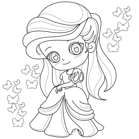 Cute fairy-tale Princess on a white background for coloring page, vector illustration.