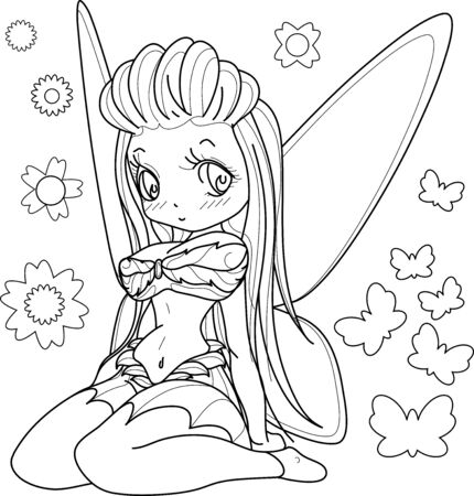 Beautifull fairy girl with wings, Outlined on white background for  adult coloring book, vector illustration. Иллюстрация