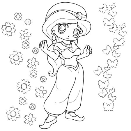 Cute fairy-tale Princess. Outlined for coloring book isolated on a white background, vector illustration.