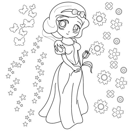 Beautifull Little Princess. Outlined on white background for  adult coloring book, vector illustration. Иллюстрация