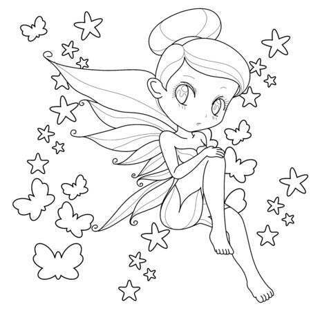 Cute little fairy with wings, white background for coloring page, vector illustration. Иллюстрация