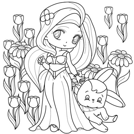 Beautifull Little Princess, Fantasy black and white image. Outlined on white background for  kids coloring book. Vector illustration. Иллюстрация