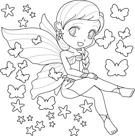 Cute little fairy with wings, white background for  kids coloring book, vector illustration.