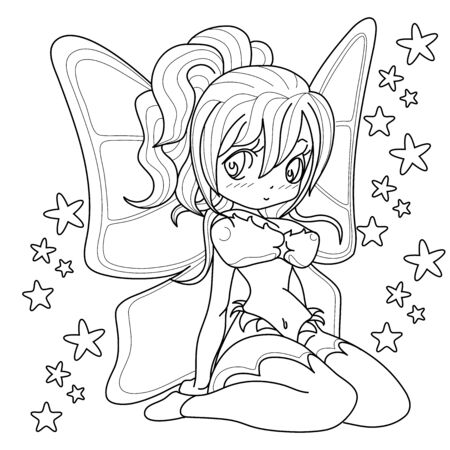 Beautifull fairy girl, Fantasy black and white image. Outlined on white background for  kids coloring book. Vector illustration. Иллюстрация