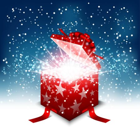 Opened gift box surprise with magic glowing shine bright particle. Happy birthday, happy new year and merry christmas card.