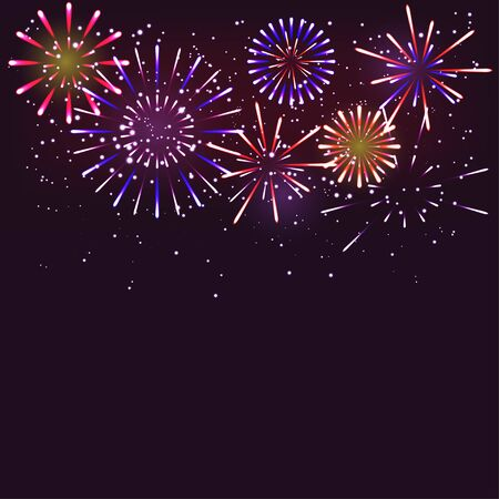 Fireworks for greeting card, merry christmas card. Happy new year. Vector illustrator
