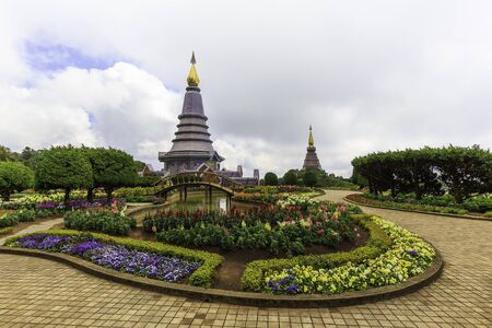 phon: Landscape of two pagoda on the top of Inthanon mountain, Chiang Mai, Thailand.