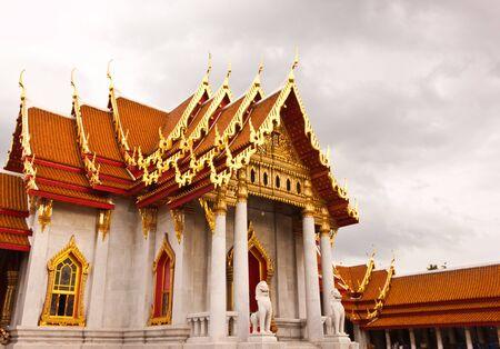 Marble church at wat benjamaborpit in Thailand photo