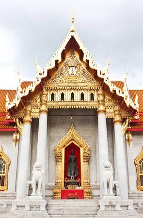 Marble church at wat benjamaborpit in Thailand Stock Photo