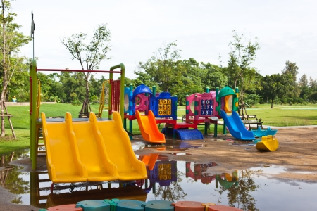 Playground at garden in Thailand photo