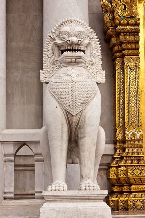 The lion image in front of Buddhist church at wat benchamaborphit in Thailand