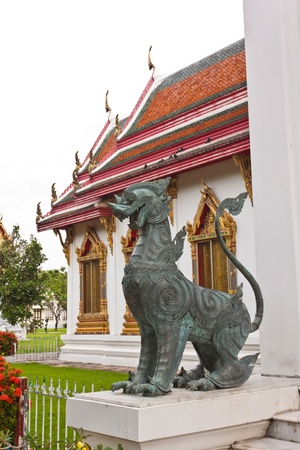 annals: The Dragon statue at Wat Benchamaborphit in Thialand Stock Photo