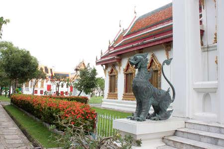 thialand: The Dragon statue at Wat Benchamaborphit in Thialand Stock Photo