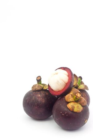 Mangosteen on white paper photo