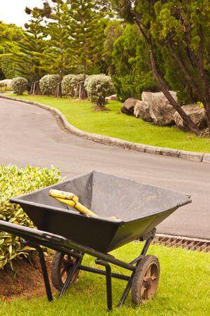 Wheelbarrow in garden